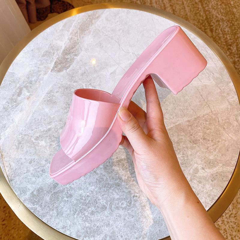 Plataforma Jelly Shoes Verão Feminino Mulheres Praia Chinelos Outdoor Casual Sapatas de Borracha Verão Verão Sola Flipflops Slides Mulheres