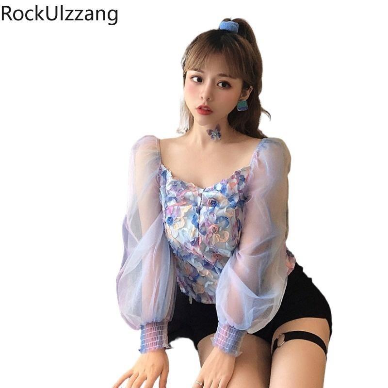 Лоскутная сетка с длинным рукавом квадратная шея милая цветочная футболка корейские женщины сексуальные эстетические урожая верхняя часть бодиконки футболка тройник мода тонкий женский