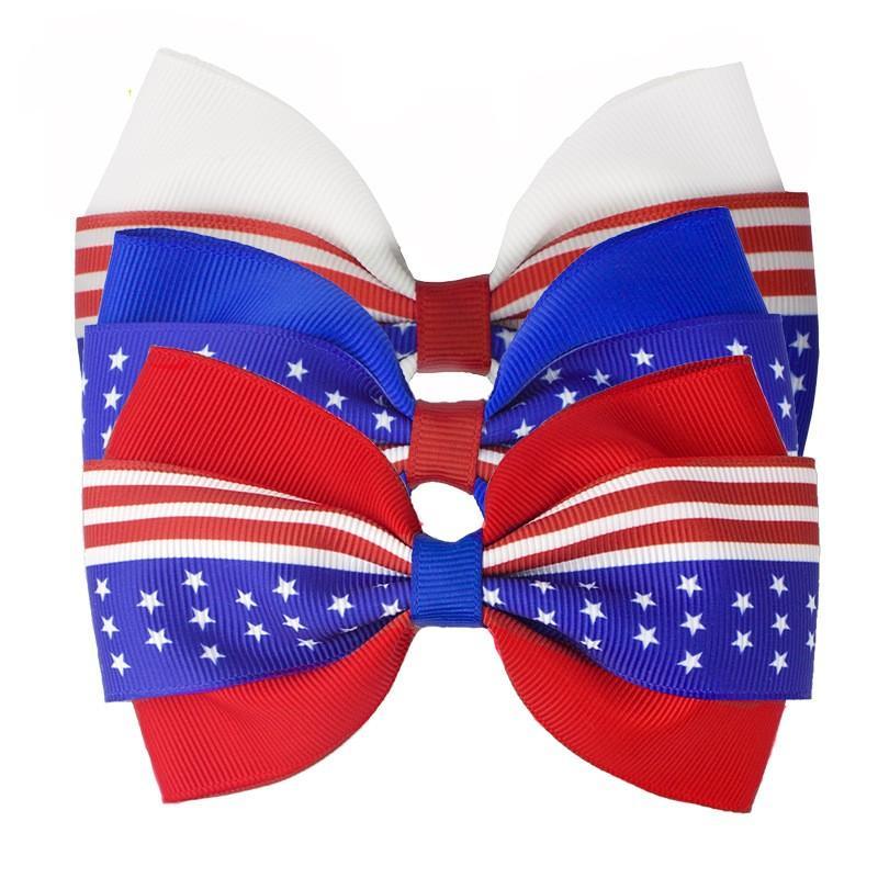 4 inç Saç Aksesuarları 4 Temmuz Bayrağı Saç Yaylar Kızlar Için Klipler Kırmızı Kraliyet Beyaz Hairbows Grogren Kurdele Yıldız Şerit 471 K2
