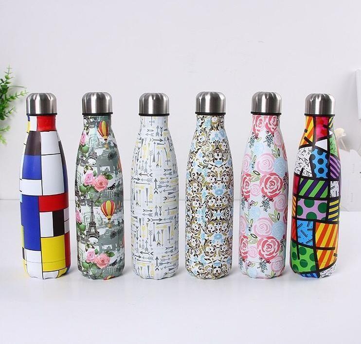 350 ml / 500 ml COLA Botella de agua con forma de agua con aislamiento de vacío Tazas de viaje de doble pared de acero inoxidable Forma 1DIW