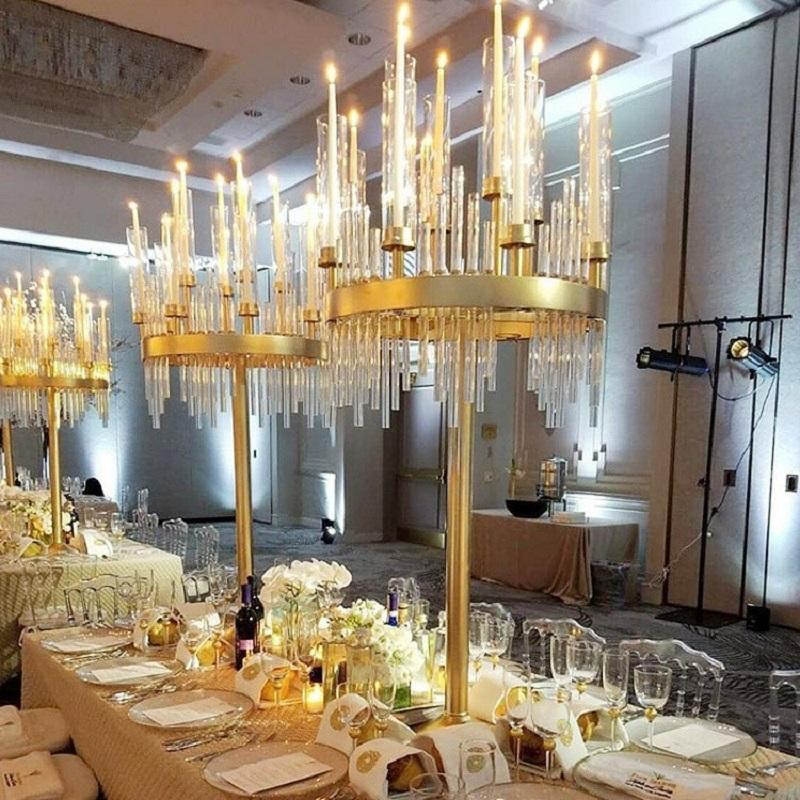 Candle Holders 1 Flowers Vases Road Lead Table Centerpiece Gold Metal Stand Pillar Candlestick For Wedding Candelabra