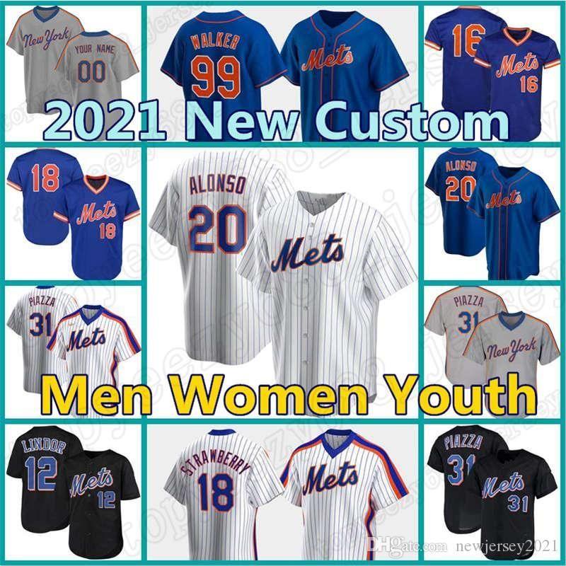 48 Jacob Degrom Mets Jersey Custom 12 Francisco 20 Pete Alonso Lindor Baseball Darryl Strawberry Mike Piazza Conforto David Wright