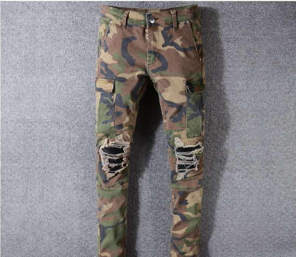 Camo Jeans Neue Sommer Mode Herren Rissen Biker Casual Hosen Hip Hop Jeans Für Jeans Denim Lange Hose