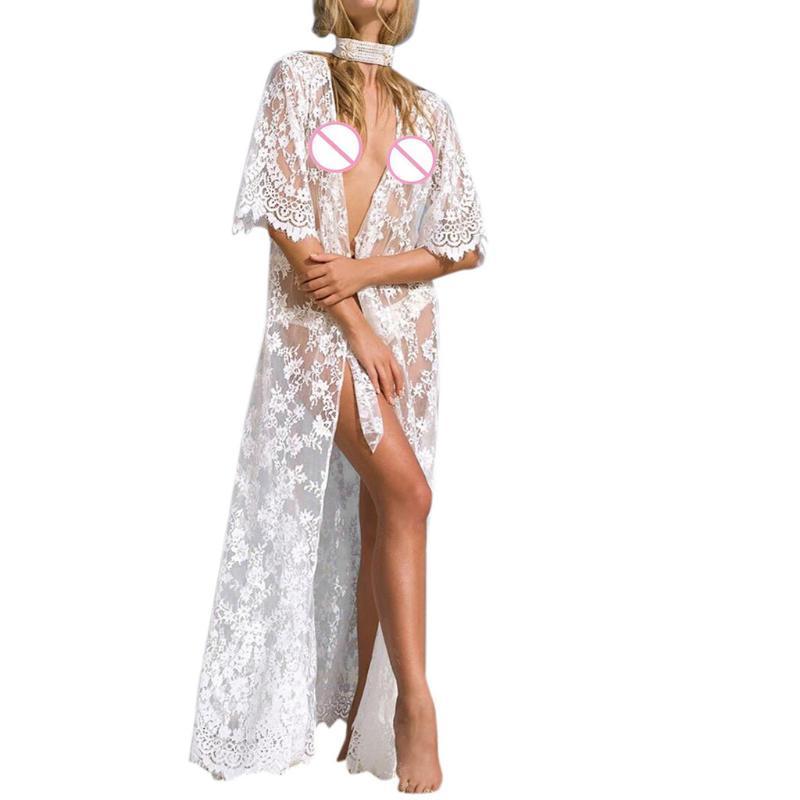 See Through Top Summer Cloth Women Cover Blouse Tops Lace Suit Bikini Swimwear Beach Swimsuit Smock Sexy Belt Stylish Bar 2021