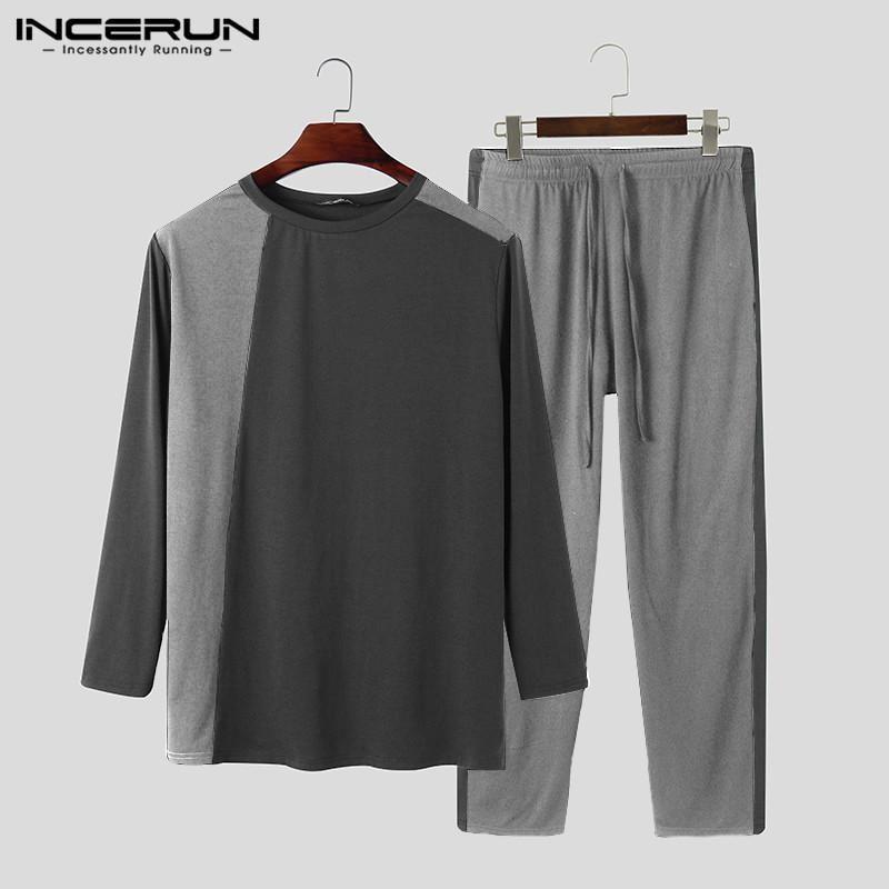 Männer Nachtwäsche Mode Patchwork Pyjamas Sets Langarm O Neck Top Kordelzug Hosen 2 Stück Freizeit Gemütliche Homewear Anzug
