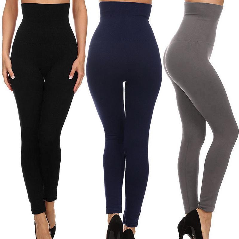 Sfit Mulheres Império Cintura Tummy Controle de Compressão Leggings de Slimming Plus Velvet Cintura Alta Yoga Calças AutumnWinter Plus Size