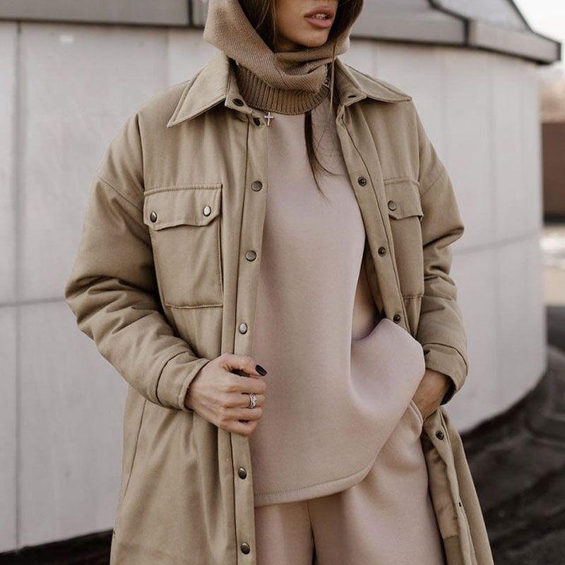 Malina 캐주얼 따뜻한 긴 Parkas 여성 패션 단일 브레스트 코트 우아한 칼라 코튼 재킷 여성 숙녀 여성의 여성