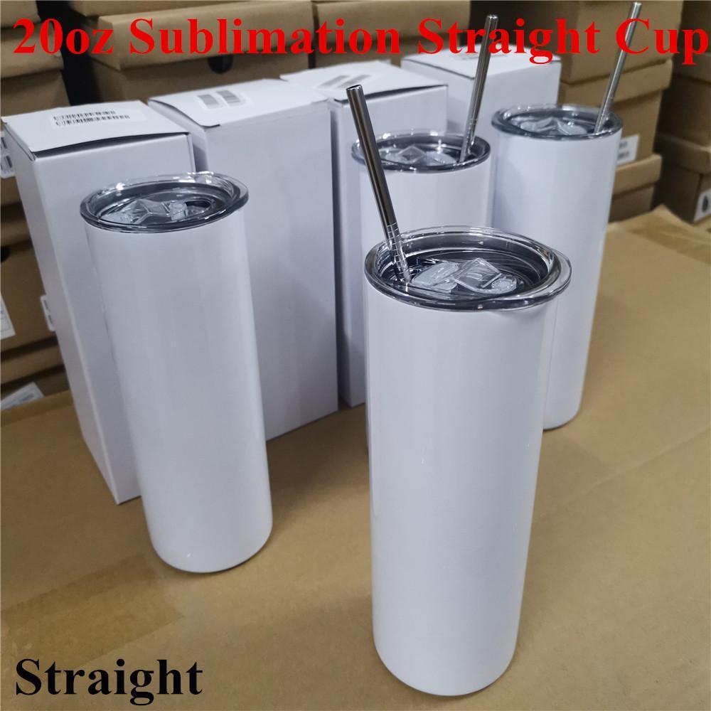 20 oz süblimasyon saman ile düz bardaklar paslanmaz çelik su şişeleri drinkware çift yalıtımlı bardaklar ofis parti kupalar toptan