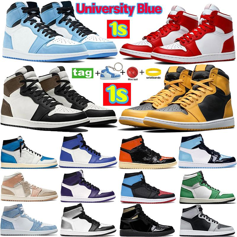 New Silver toe 1 Basketball shoes 1s High Dark Mocha Black Metallic Gold UNC Light Smoke Grey Chicago royal toe sport sneakers 36-46