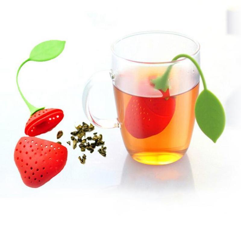 Lindo strawberry té hoja de hoja herbario especia infusor filtro herramienta de cocina nuevo A209