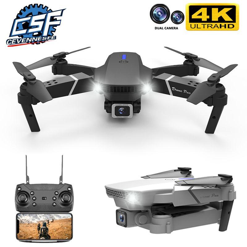Cevennesfe novo drone 4k 1080p hd largamente angular câmera dupla wifi fpv Altura de posicionamento manter dobrável rc helicóptero drones presente 210325
