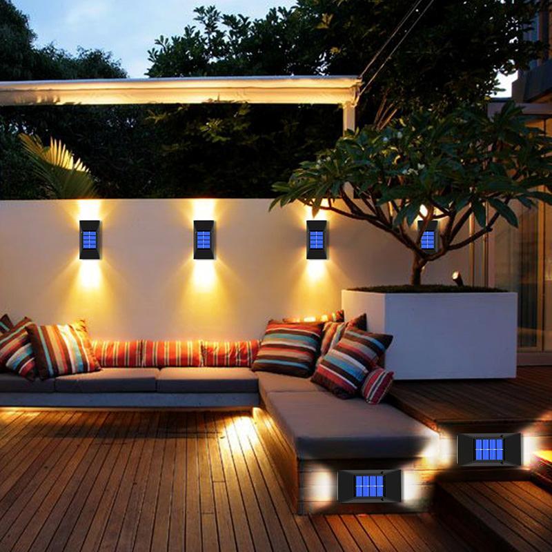 Outdoor Waterproof LED Solar Light Powered Wall Lamps for Garden Decoration Street Lighting