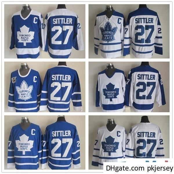 Toronto Maple Leafs Darryl Sittler Hockey Jerseys Vintage Classic 75 aniversario # 27 Darryl Sittler Jersey Blue White C Parche
