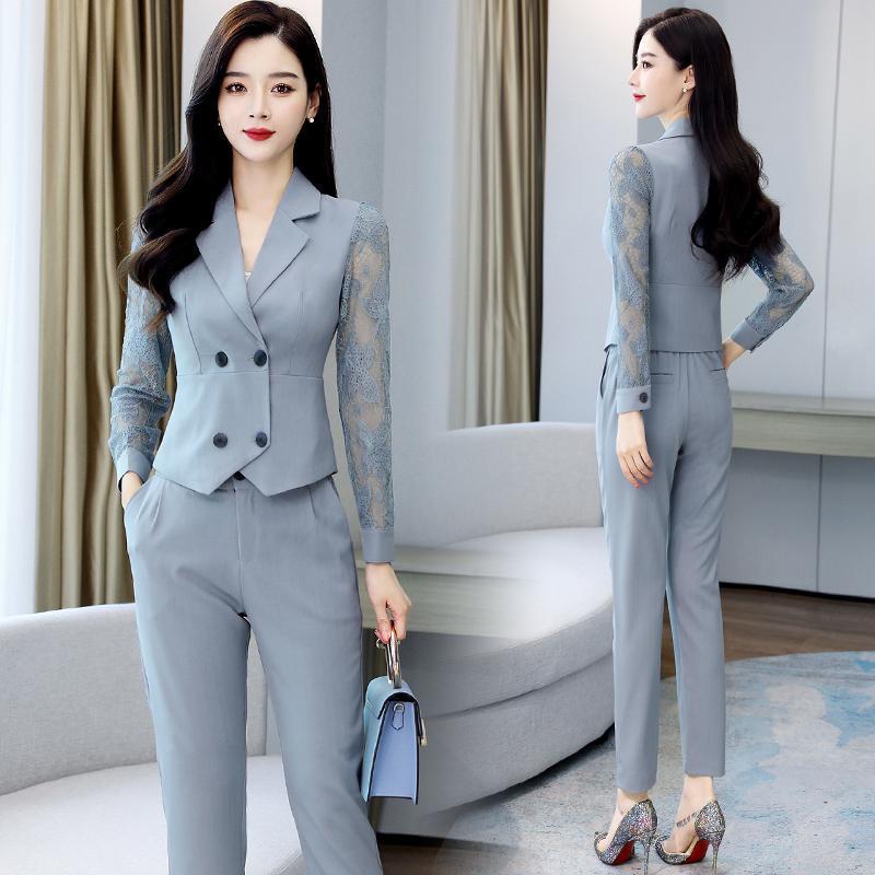 Весна и осенние костюмы женские самооберенные шить кружева блузка + повседневные брюки из двух частей плюс размер M-3XL двух частей