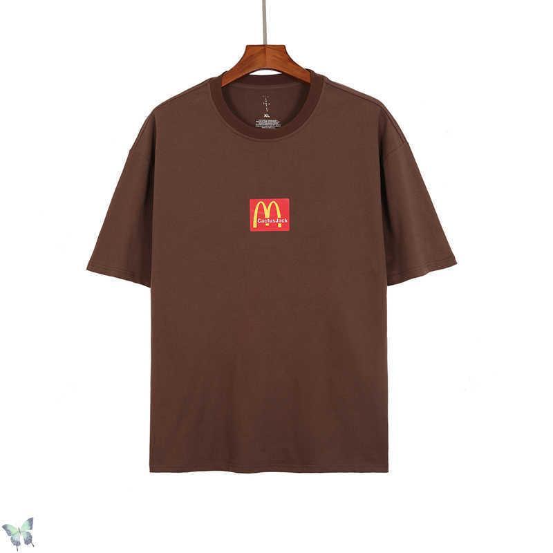 Boy Travis Scott Kaktüs Jack T-shirt Klasikler Kahve Rengi Erkekler Kadınlar Tops Tees Yüksek Kalite Rahat T Gömlek 210629