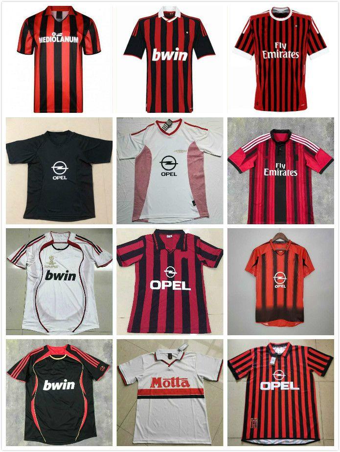 Retro Camisas Home 88 99 14 15 91 92 95 Gullit Jersey 03 05 Maldini Van Basten Football Ronaldo Kaká Inzaghi AC 06 07 Milão 10 Shevchenko