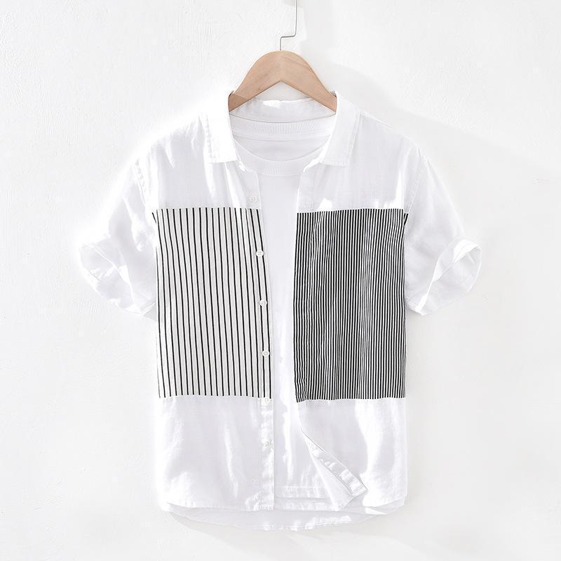 봄 가을 패션 남자 느슨한 캐주얼 스트라이프 세련된 셔츠 일본 프리미엄 리넨 패브릭 간단한 옷깃 블라우스 남성 슬림 맞는 잘 생긴 최고의 남자 셔츠