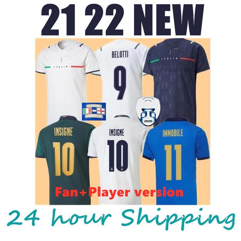 2021 Italia Soccer Jersey Insigne Bernardedeschi Camisa de Fútbol Chiellini Buenuci Belotti Jorginho Sensi Barella 21 22 Top Thiland Kits Kits Fútbol Uniforme de los hombres