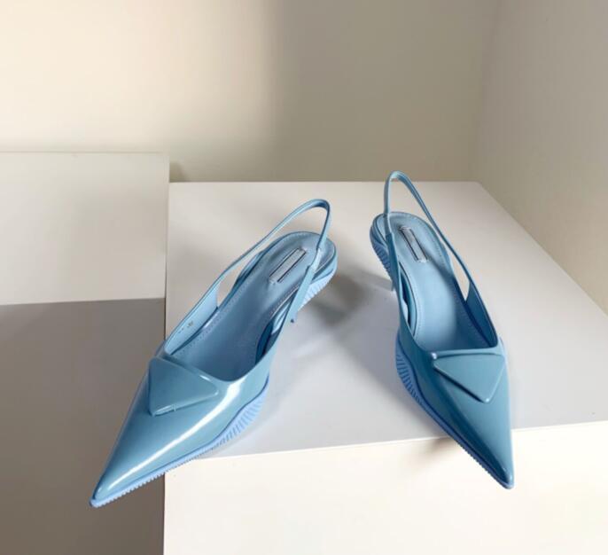 10 colores Mujeres de tacón alto diseño de la letra triángulo punteado bombas sexy retro primavera otoño alto boda tacones gruesos zapatos de negocio