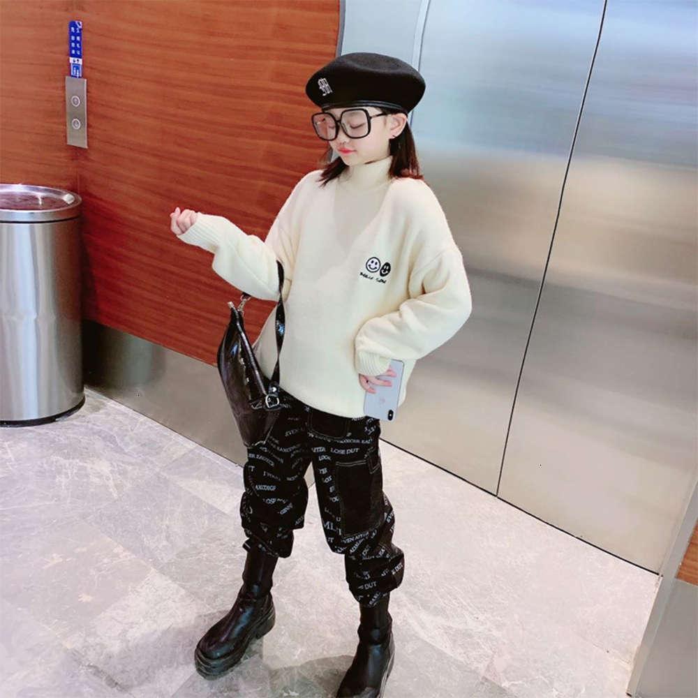 Enfants Vêtements Pull Cashmere Épaissi Automne Hiver Hiver Boys and Girls Long Long Sve Pull Swicked Chemise de fond pour enfants