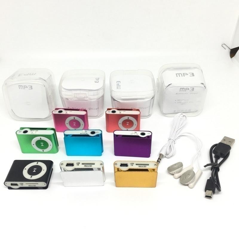 Mini Clip MP3 Player 8 Colors with Earphone USB Cable Retail Box Packaging Without Screen -Support Micro TF/SD Card Sport Style MP 3