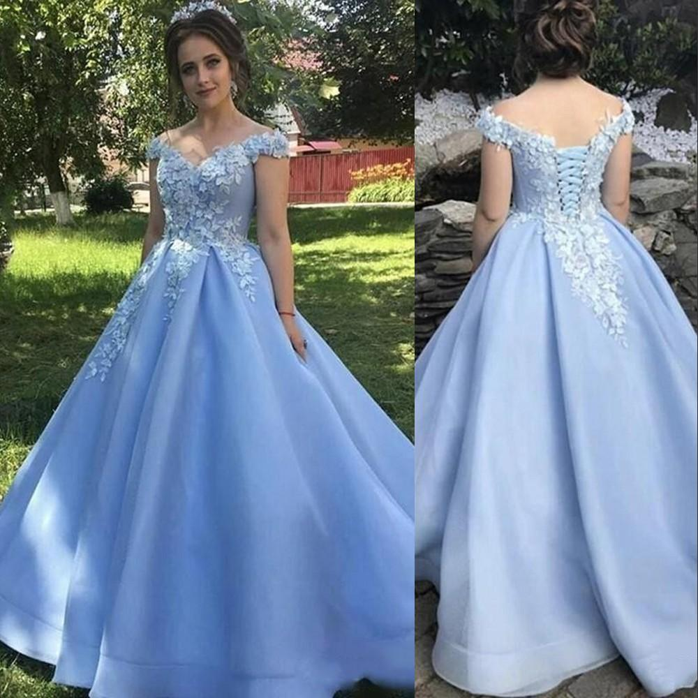 2021 Sexy Sky Blue Quinceanera Dresses Ball Gown Off Shoulder Lace 3D Flowers Tulle Plus Size Sweet 16 Formal Party Prom Evening Gowns Corset Back Sweep Train