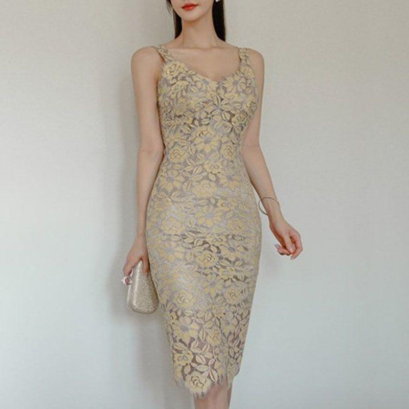 Kleid Sommer Damen Temperament Slim Mode Hosenträger Spitze Tasche Hüften Büro Dame Sleeveless Knielänge 210603