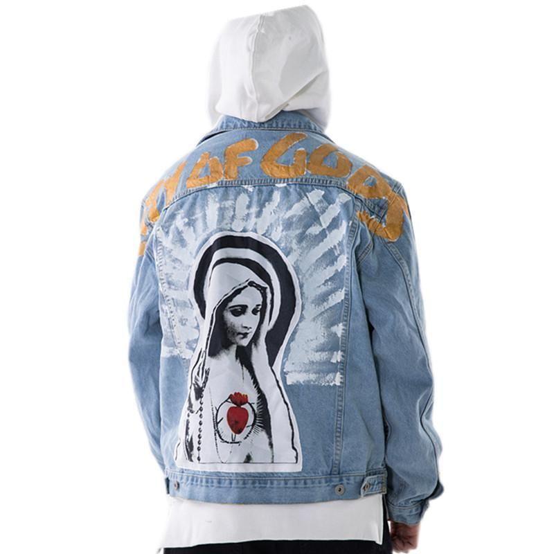 Marke Vintage Jungfrau Maria Malerei Print Jeans Jacken Hip Hop Streetwear Lose gewaschene Denim Jacke Mantel Männer Frauen Größe S-XL