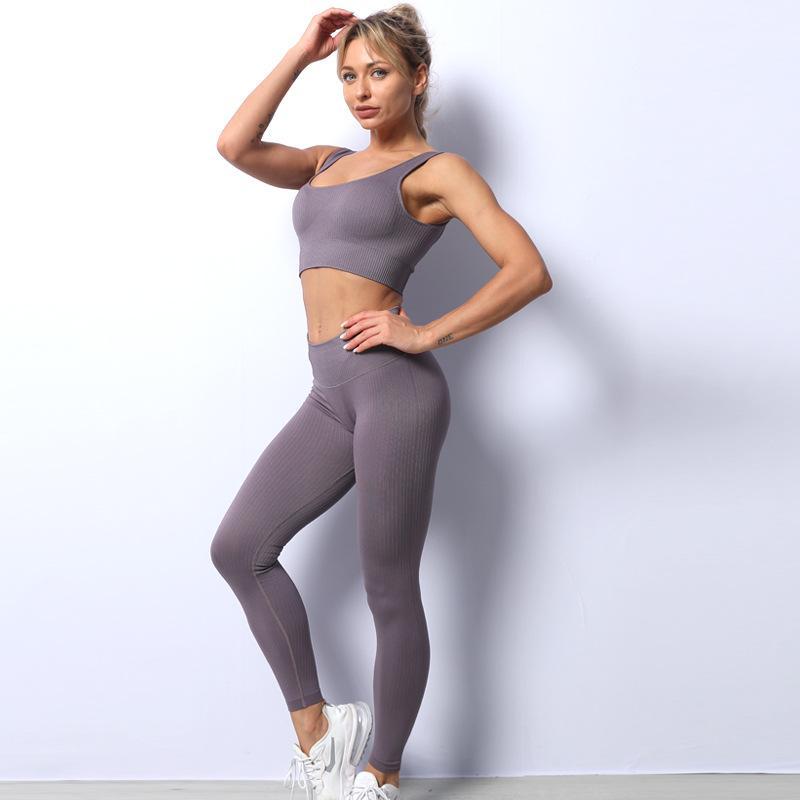 Европейская и американская полосатая одежда Йога красота задняя часть нейлоновый жилет комплект спортивные беговые бедра бесшовные брюки фитнес бюстгальтер