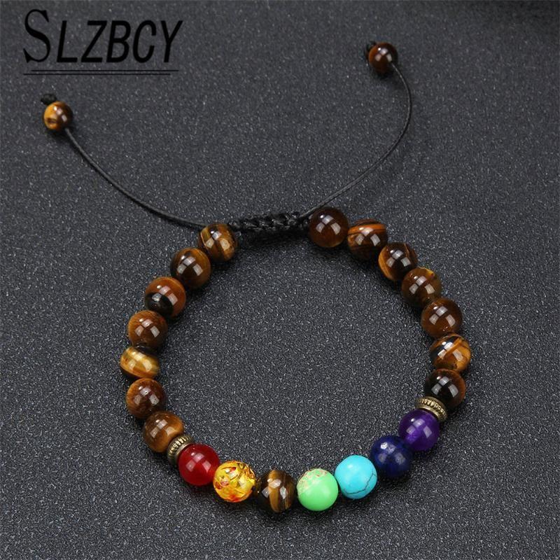 أزياء 7 شقرا الحمم صخرة الخرز سوار اليدوية للتعديل مجوهرات اليوغا الطاقة شفاء حجر الأساور للنساء الرجال هدايا سحر