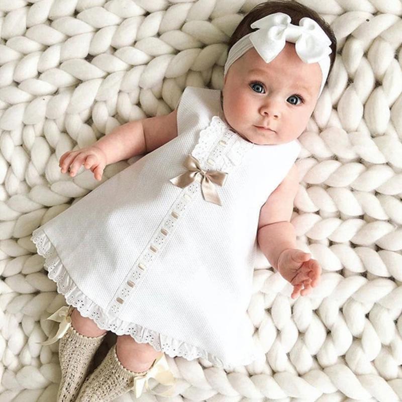 소녀 드레스 태어난 아기 옷 귀여운 면화 민소매 공주 유아 첫 생일 2021 소녀의 드레스