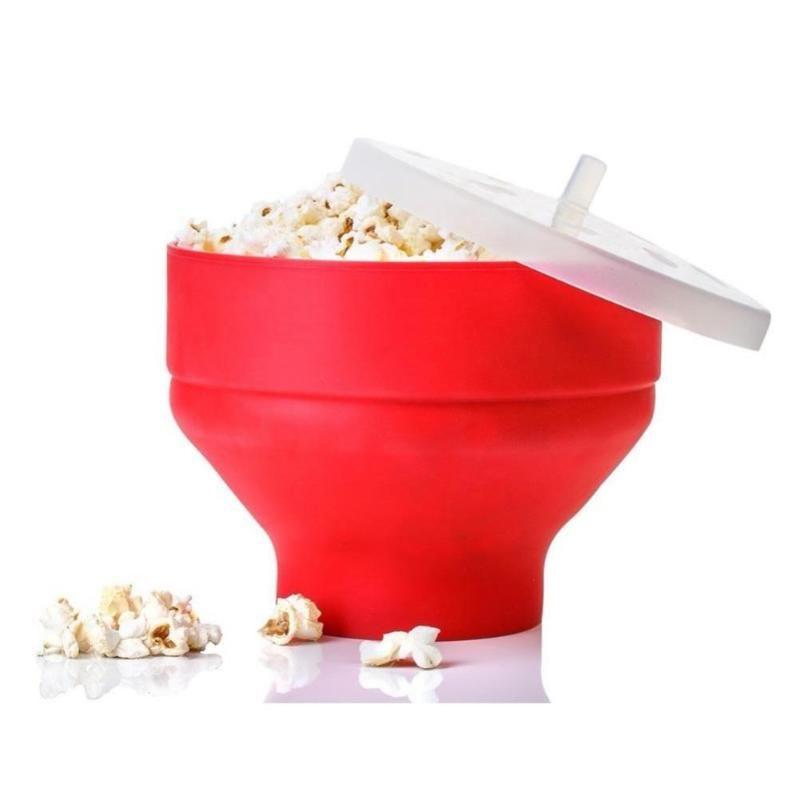Microondas de pipoca Silicone Red Dobrável Bacia Cozinha Fácil Fácil Ferramentas DIY Bucket Tapas Maker com Lid Table Uthers Bowls