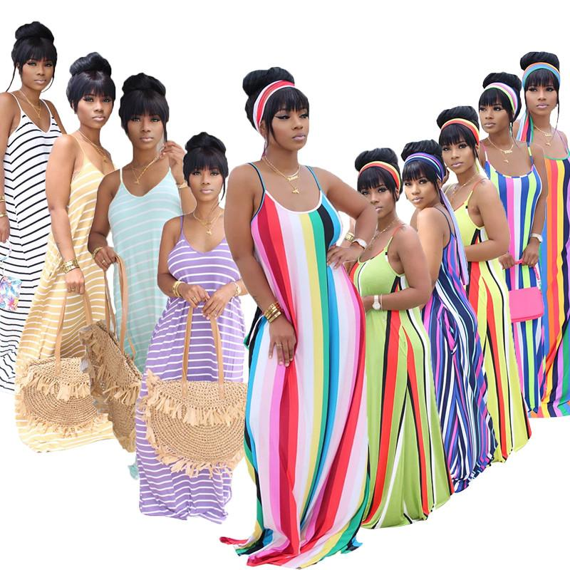 Плюс размер 3XL 4XL 5x Женские Maxi Party платья спагетти ремешок полосатый платье летняя одежда мода элегантный без рукавов DHL 5081