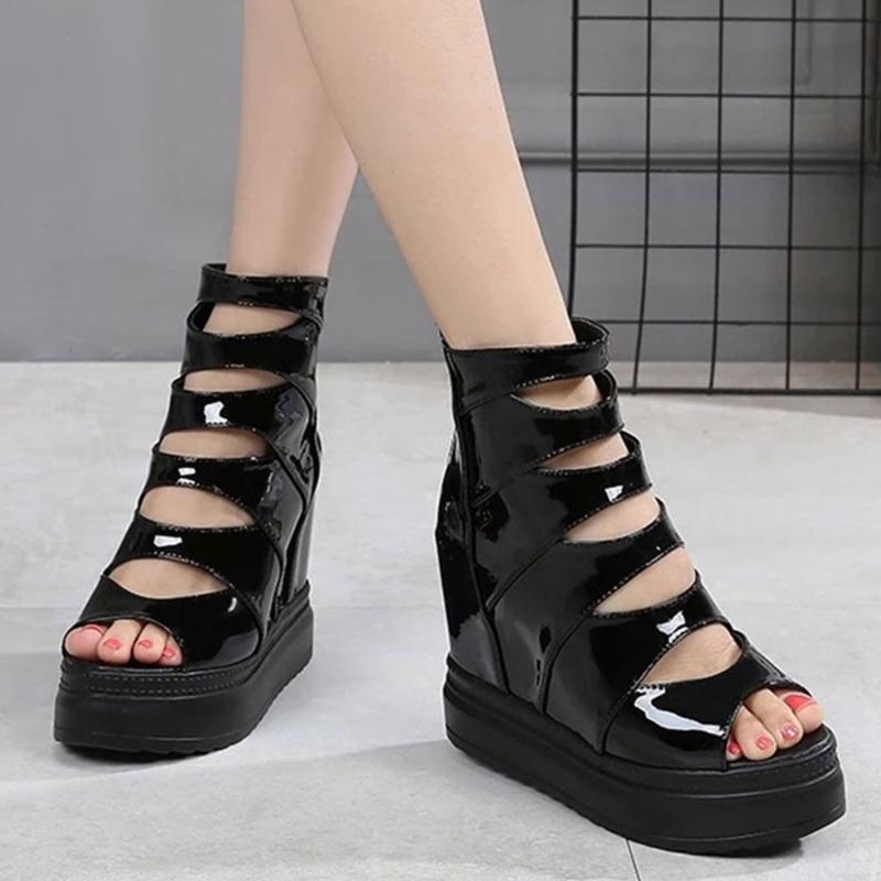أحذية اللباس gigifox ماركة أزياء القوطية نمط الارتفاع زيادة سستة زقزقة تو الصيف الجوارب الصنادل منصة بارد امرأة
