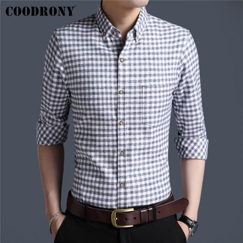 브랜드 봄 가을 도착 100 % 코튼 긴 소매 셔츠 남성 비즈니스 캐주얼 클래식 격자 무늬 주머니 의류 C6178 남자 셔츠