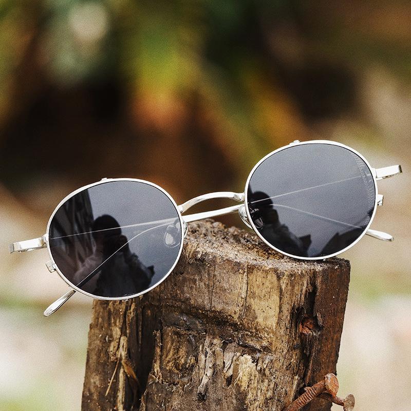 Sonnenbrille 2021 Vintage Klassische Runde Stil Steampunk Anti Blue Ray Eyewear Mesh Side Shield Sun Gläsern 918