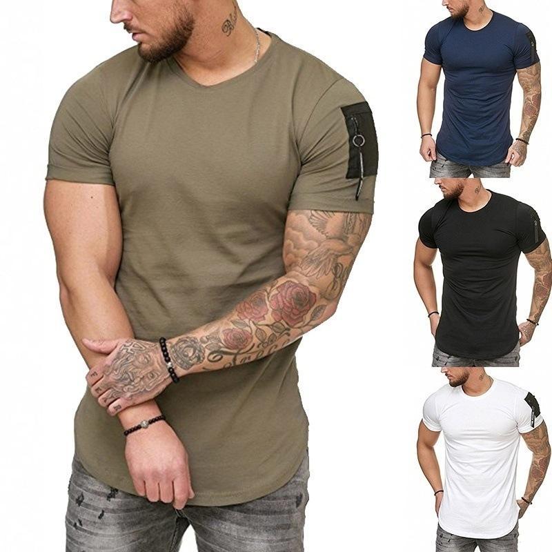 Camiseta A cor sólida dos homens magros ajustam a forma redonda né t-shirt ocasional da luva curta