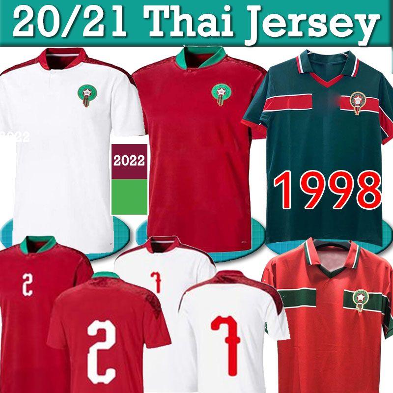 Retro Marocco Soccer Jerseys 1988 Ziyech 2021 Casa Aprica Africa Hakimi Boufal Fajr Munir Ait Hadji Abrami Bennasser Camicia da calcio Amrabat