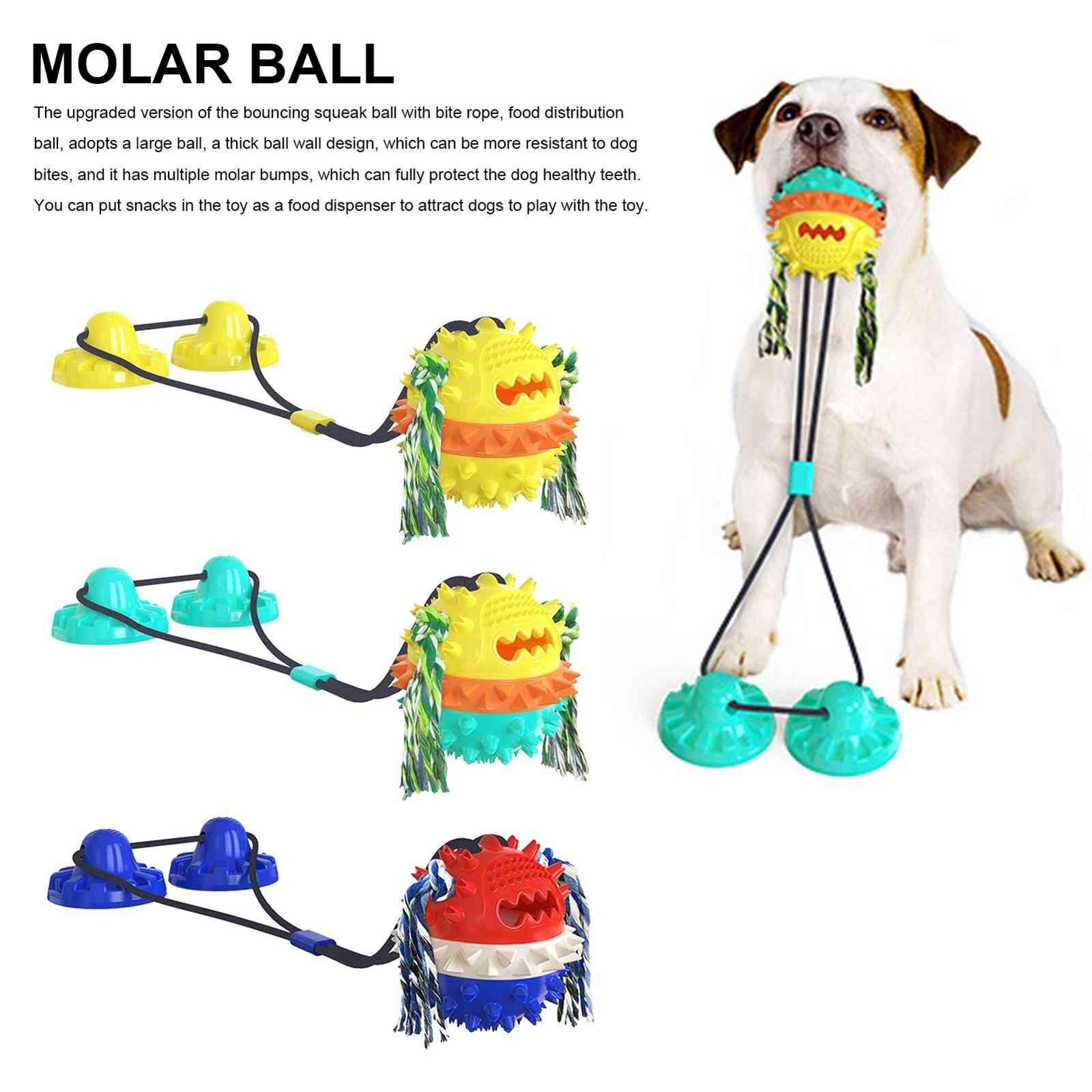 Pet molar bowl ball Bite Interactive Dog Toy With Durable Rope And Suction Cup For Pulling/Chewing/Teeth Cleaning Self Playing Tog For Dogs