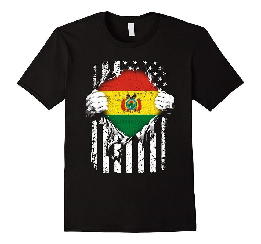 Camisetas para hombre Hombre Super Bolivia Hearts American Patriot Flag Bolivian Tshirt Grande negro