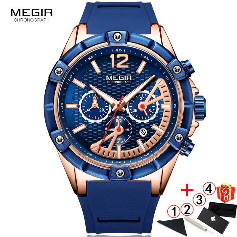 Relogio Masculino Reloj Men 2021 Megir Muñeca Creativa Masculina Silicona Gran Dial Cronógrafo Relojes Relojes de pulsera