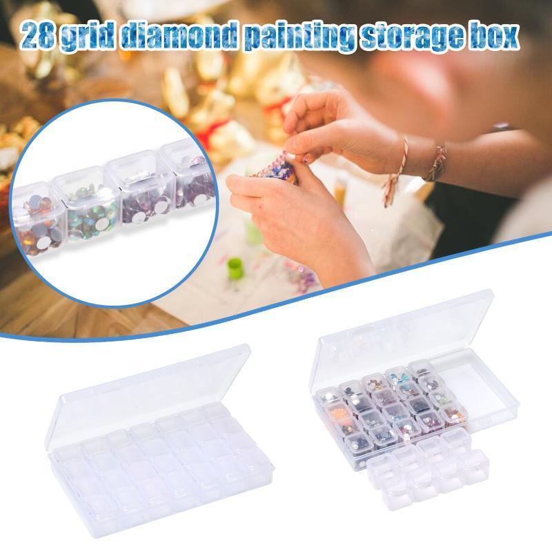Caixa de armazenamento de pintura de diamante com 28 contas de artesanato ajustável contêineres Organizador Home Organizador Cruz Caixas Caixas Caixas