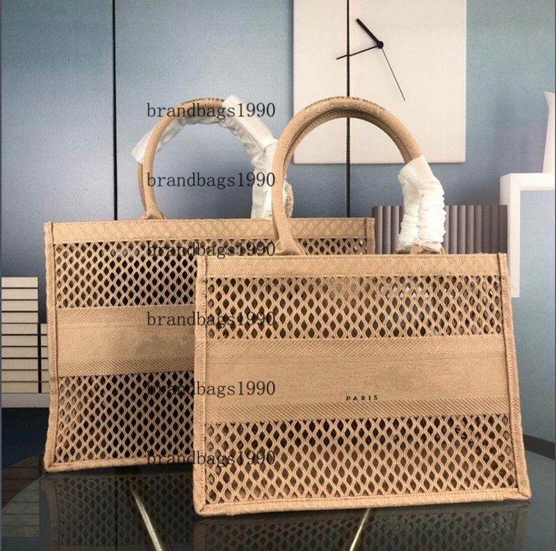 Mesh Ricamo Fatto a mano Shopping Bag Hollow Out Designer Designer Ladies Borse di grandi dimensioni Parigi Top Quality Borsa Borse Retro Style Borse Canvas Style 2021