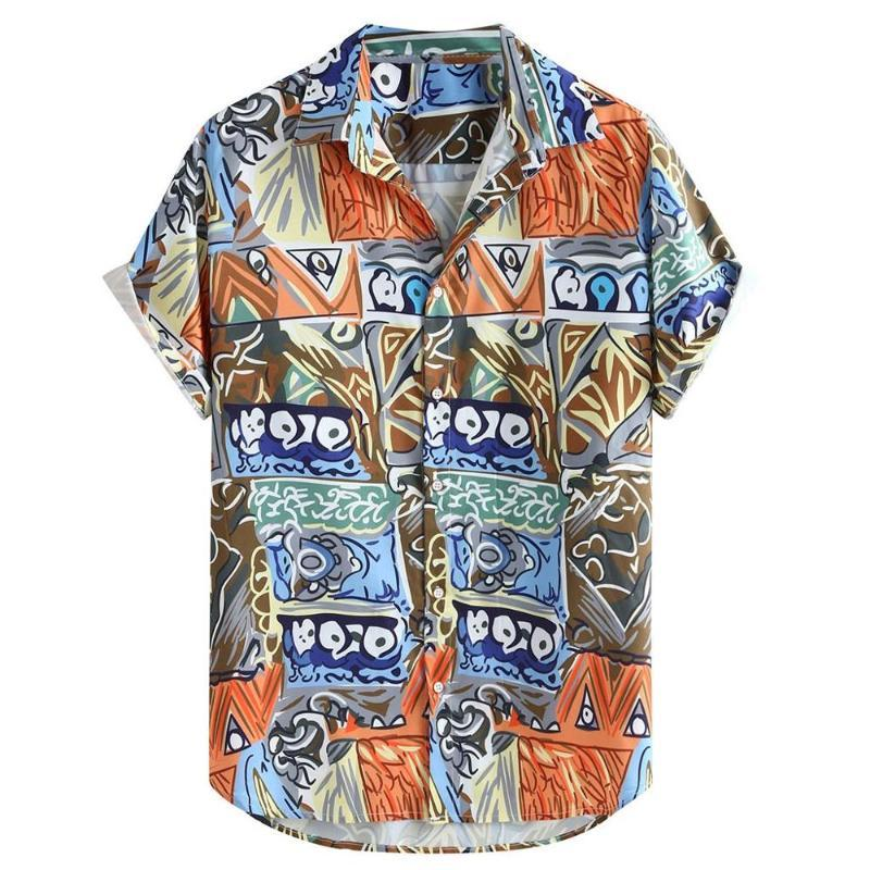 Fashion Mens Abstract Printing Ethnic Style Short Sleeve Summer Loose Casual Shirt Lapel Button Up Men Shirt Male Blouse
