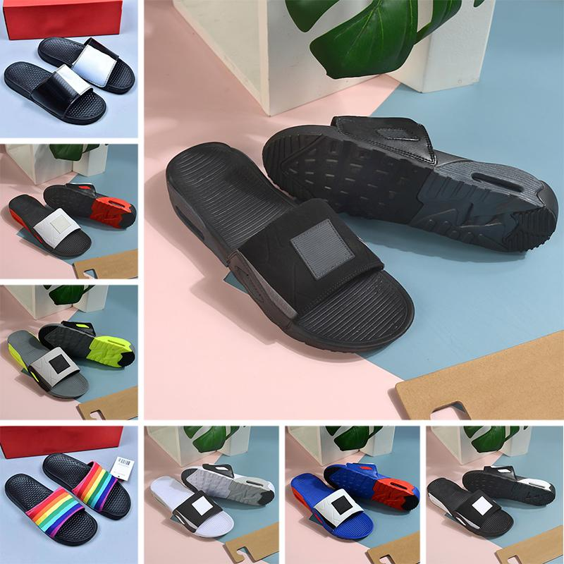 Sapato nike air max 90 homens mulheres chinelos deslizantes moda slides 90 triplo preto branco cinza chinelos masculinos planos sandálias plataforma de hotel de praia 36-45