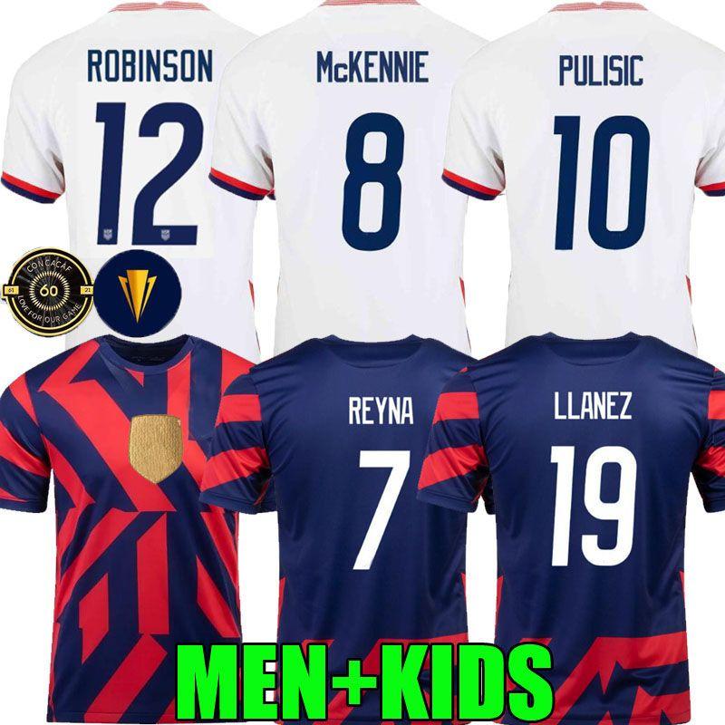 2021 미국 축구 유니폼 로빈슨 멀리 2022 USA Pulisic Dest McKennie Reyna Adams Weah Misah Letget 21 22 남성 여성 아이들 축구 셔츠 Concacaf 골드 컵