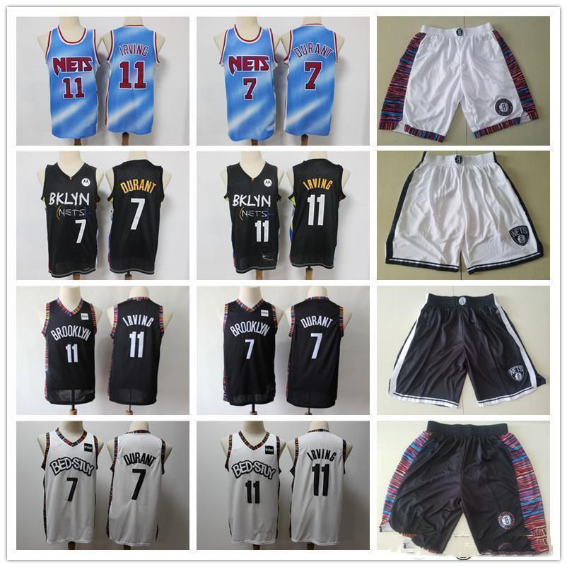 2021 para hombreBrooklynRedesRetroceso jersey kyrie kevin 7 durant 11 Irving Baloncesto Shorts Basketball Jersey Blqck Navy White White Entrega rápida
