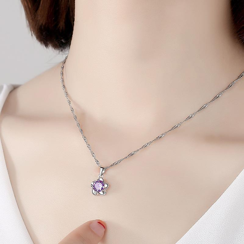 925 Sterling Silver Woman Fashion Jewelry High Quality Crystal Zircon Plum Blossom Flower Pendant Necklace Length 45CM