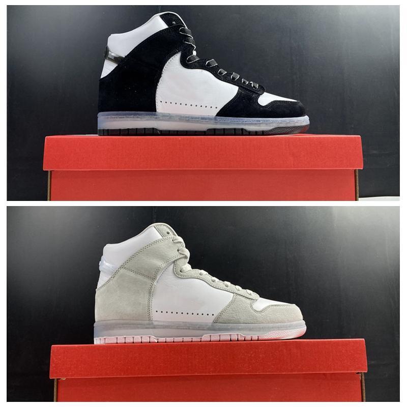 2021 Basketballschuhe Slam Marmelade Dunk High Light Grey White Clear-Pure Platinum Echtes Leder Skateboard Shoe Männer Frauen Trainer Sneakers DA1639-100