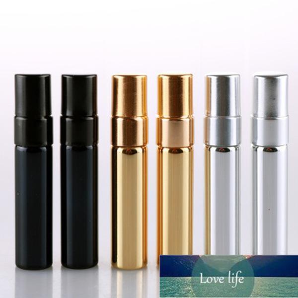 50 adet / grup 5 ml Mini Parfüm Şişesi Altın Gümüş Siyah Şişe Ambalaj Kutusu Atomizer Sprey Şişeleri Örnek